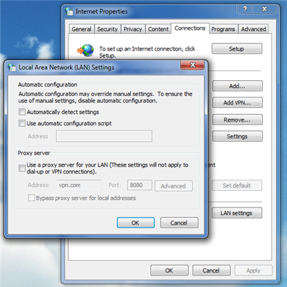 Proxy settings in Windows